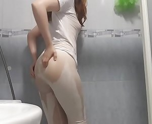 White shirt and tights shower with a redhead! - PREVIEW