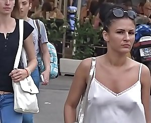 Candid Braless Bellowing with Bouncing Boobs
